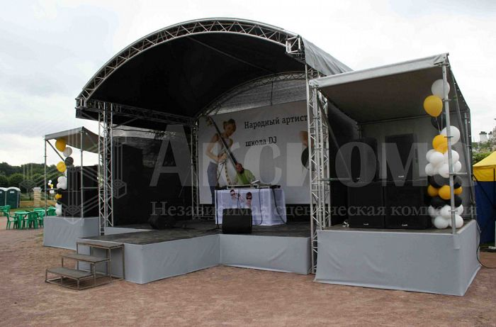 Roof stages, grounds, stage assemblies